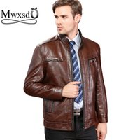 Wholesale Purple Leather Motorcycle Jacket - Wholesale- Mwxsd brand autumn winter men Leather Jacket Male Motorcycle Jacket Men's warm PU leather jacket aqueta de couro masculino