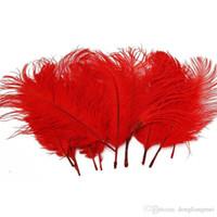 rote straußenfedern großhandel-Großhandel 100 teile / los 14-16 zoll (35-40 cm) Rot straußenfedern federn für hochzeitsmittelstücke Home party supply Decor z134D