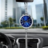 Wholesale Charm Storage - Car Pendant Charm Alloy Auto Clock Watch Perfume Refill Storage Automobile Rearview Mirror Interior Decoration Hanging Ornament