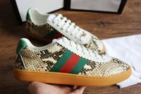 Wholesale genuine python leather - 2018 new Designer fashion luxury brand casual shoes Leather suede Python Web sneakers for men and women