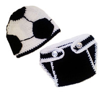 Wholesale crochet baby hat football - Best Value! 2pcs Baby Boys Newborn Toddler Infant Photography Prop Set Handmade Crochet Football Hat + Diaper Cover