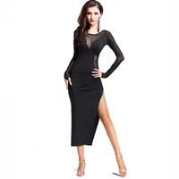 Wholesale Women Latin Dance Tops - Latin Dance Dress Women Salsa Dress Tango D375 with Underwear Split Hem Sexy Sheer Top Long Sleeve
