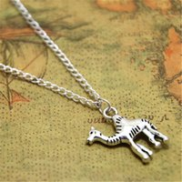 Wholesale american camels - 12pcs lot Camel necklace Jewelry Desert Animal Charms Desert pendant silver tone