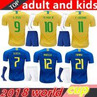 neymar jr brasil jersey al por mayor-Copa del mundo 2018 Brasil Kits de adultos y niños Jersey NEYMAR JR casa lejos camisetas de fútbol G.JESUS COUTINHO MARCELO FIRMINO camisa de Brasil defutebol