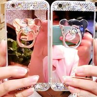 Wholesale bling bears - For Samsung Galaxy S6 S7 s8 s9 note8 J7 case TPU bling rhinestone diamond Mirror with Bear Ring Holder Kickstand Protective cases 10071