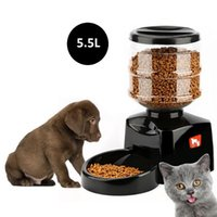 Wholesale food smart - 5.5L Automatic Pet Dog Feeder with Voice Message Recording and LCD Screen Large Smart Dogs Cats Food Bowl Dispenser Pet Products AAA260