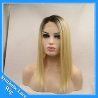 Wholesale cheap short blonde wigs - Cospaly Wig Ombre Blonde Synthetic Wigs for Women Ombre Lace Front Wig Short Bob Blonde Wigs Straight 1BT613# African American Cheap Wig