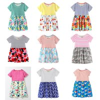 Wholesale contrasts dress designs - Baby Girls Beach Dresses 31 Designs 100% Cotton Colorful Striped Flora Bunny Monkey Parrot Dinosaur Peacock Butterfly Printed Appliqued