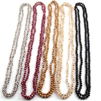 Wholesale Long Tribal Jewelry Necklace - whole saleFree Shipping Fashion Bohemian Tribal Jewelry 6mm Crystal knotted long Halsband Glass Crystal Necklace