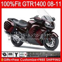 zx14 verkleidung rot großhandel-Einspritzungs-Körper für KAWASAKI NINJA GTR1400 08 09 10 11 116HM.13 Perle GTR-1400 GTR 1400 Weinrot 2008 2009 2010 2011 Verkleidung Kit + 8Gifts
