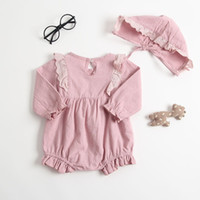 Wholesale baby clothes sizes - baby girl cotton clothing romper spring fall round collar long sleeve romper hat Lolita Style romper design comfortable