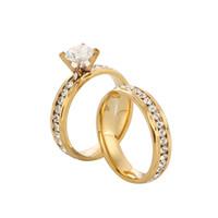 ingrosso le promesse d'oro promettono l'insieme delle coppie-Coppia di anelli in acciaio inossidabile con diamanti CZ Set per uomini donne amanti del fidanzamento, sua e sua promessa, tono oro