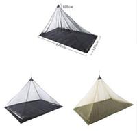 tek kamp çadırları toptan satış-2 Renkler 2.2 * 1.2 m Tek Katmanlı Gazlı Bez Cibinlik Çadır Açık Kamp Taşınabilir Örgü Çadır Piramit Şekli Çadır Bahçe Dekor CCA11515 10 adet