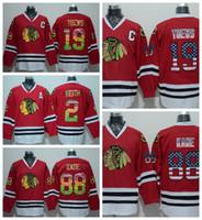 Camisolas de Chicago Blackhawks 19 Jonathan Toews 88 Camisolas de Hóquei  Patrick Kane Vintage Costurado EUA Bandeira Multi Vermelho 1aa8751e633