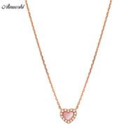 rosa diamantherzhalskette großhandel-AINUOSHI Echte 18K Rose Gold Weiblichen Anhänger Halskette Natürliche Rosa Onyx Anhänger Halskette Herzförmigen Diamant Anhänger Schmuck S923