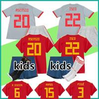 Wholesale Custom Kids Shirts - kit Spain kids jersey away 2018 World Cup Spain Soccer Jerseys boys home football kits custom ISCO RAMOS MORATA child Soccer shirt Socks