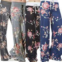 Wholesale yoga pants europe resale online - Hot Sales Yoga Pants Europe Fashion Wide Leg Pants Floral Printing Casual Loose Women Breathable Capris Pants S XL size