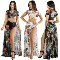 Wholesale Net Beach Skirt - 2018 new Women two piece dress Fashion net yarn printing ladies Crop Top Midi Skirt Set Summer Holiday Beach Dresses