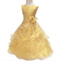 ingrosso abiti da principessa baby vestiti-Neonate Party Dress with Hoop All'interno Bambini ricamati Flower Girl Wedding Comunione Princess Graduation Gown Abiti formali per bambini