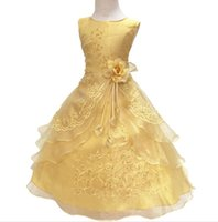 ingrosso neonata si abita blu-Neonate Party Dress with Hoop All'interno Bambini ricamati Flower Girl Wedding Comunione Princess Graduation Gown Abiti formali per bambini