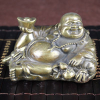 Wholesale sleeping bags china resale online - New Antique Antiques Miscellaneous Collection Antique Crafts Gifts Bronze Decoration Semi sleeping Maitreya Holds Ingots