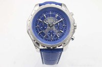 Wholesale luxury chronograph watches for men for sale - Group buy 2018 New Special Edition Brand Quartz Watch For Men Blue Dial Silver Case Blue Leather Belt Silver Skeleton Watch HKpost