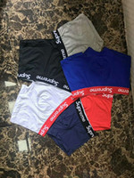 Wholesale Hot Men Underpants - Surpeme Brand Men Underwear Boxers Cotton 6 Color M-XXL Breathable Letter Underpants Shorts Luxury Brand Design Cuecas Tight Waistband HOT