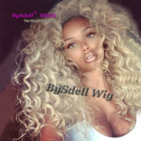 Wholesale chocolate wigs resale online - Synthetic Heat Resistant light White Blonde Kinky Curly Lace Front Wig Quality Honey Blonde Hair Lace Front Wigs for Chocolate Woman