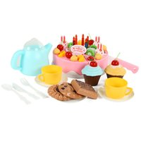 Wholesale Pretend Birthday Cake - >3 Years old Kid Non-toxic Pretend Blue and Pink Cuttable Birthday Cake Plastic Play Food Toys In Kitchen