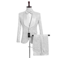 Wholesale wedding satin shawls - Handsome Groomsmen White Pattern Groom Tuxedos Shawl Satin Lapel Men Suits Side Vent Wedding Prom Best Man ( Jacket+Pants+Vest+Tie )K950