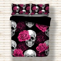 Wholesale rose print sheets - Rose Skull Black Duvet Cover Bedding Set Bed Sheet Twin Full Queen King Size 3PCS Free Shipping