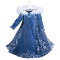 Wholesale color costume resale online - Baby Girls Dress Winter Children Frozen Princess Dresses Kids Party Costume Halloween Cosplay Clothing T