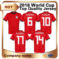 Wholesale yellow soccer team uniforms - 2018 Men World Cup Egypt Soccer Jersey Home Red 10 M.salah Shirt National Team Away white Short Sleeved Football Athletics Uniforms