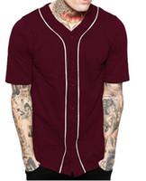 Wholesale Baseball Uniform Wholesale - Men and women general baseball uniforms cotton T-shirt team sports button fashion T-shirt casual.