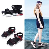 sandales compensées à bout ouvert achat en gros de-Summer Open Toe Gladiator Sandals Femmes Chaussures Haut Haut Wedges Plateforme Sandales Dames Chaussures Noir Rouge Sandales Gladiator