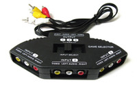 Wholesale video splitter cables - 3-Way Audio Video AV RCA Black Switch Selector Box Splitter Converter with 3 RCA Cable