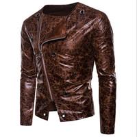 plus size pu motorcycle jacket Australia - PU Leather Jacket Men 2018 Autumn Casual Zipper Up Men Motorcycle Leather Jacket Winter Male Coat Plus Size XXL