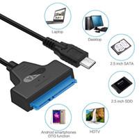 2.5 sata ssd toptan satış-USB 3.1 Tip C SATA 7 + 15Pin Kabloları Dönüştürücü 2.5 '' HDD / SSD Sürücü Tel Adaptör Kablolu MacBook Samsung Tip C Cihazlar için Dönüştürmek