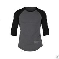 engen herrenhemd großhandel-Neue männliche getäfelte Fitnesskleidung Enges T-Shirt Herren Workout T-Shirt Herren Fitnessstudio T-Shirt Herren Crossfit Sommertop