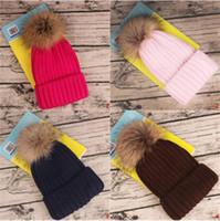 kaliteli mink şapkaları toptan satış-Yüksek Kalite Vizon Fox Kürk Pom Poms Topu Beanies Şapka Çıkarılabilir Akrilik Örme Kalın Sıcak Düz Yetişkin Çocuklar 11 renkleri al Hediye Caps