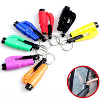 Wholesale car glass wholesale - 3-In-1 Mini Emergency Safety Hammer Cutter And Auto Car Window Glass Breaker Safety Hammer Cutter 7COLORS FFA109 100PCS