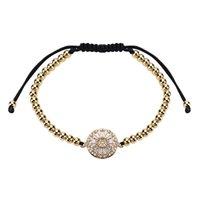 ingrosso grandi braccialetti di rame-Braccialetto di rame Bangle 2018 nuovi fiori di moda esagerare tessitura Multistrato grande circolare dorato zircone braccialetto monili delle donne all'ingrosso