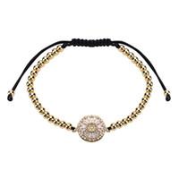 Wholesale beaded brass bracelet online - copper Bracelet Bangle new fashion flowers exaggerate weaving Multilayer big circular gilded zircon bracelet women jewelry