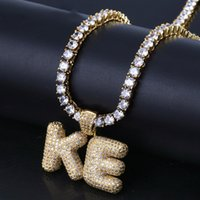 "Wholesale custom letter pendant - A-Z 0~9 Custom Name Bubble Letters Pendant with 18"" Faux Diamond Link Iced Out Chains Hip Hop Jewelry Women Man Statement Necklaces"