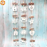 Wholesale white house christmas ornament resale online - 1PC DIY White Bell Snowflake House Wooden Craft Christmas Pendant Ornaments For Home Christmas Xmas Tree Hanging Decoration Y18102609