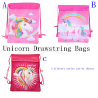 Wholesale drawstring backpack animals - Unicorn Drawstring Bags 3 Styles Kids Backpack Nonwovens Girls Boys Pouch Gift Bags Children School Travel Storage Bags 300pcs MMA140