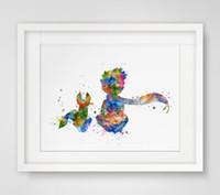 decoração da parede da raposa venda por atacado-O Príncipe Lile Fox Inspirado Design Aquarela Berçário Art Print Le Petit Príncipe Wall Decor Art Amigo Parede Pendurado AP081