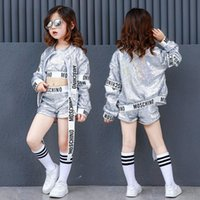 Wholesale costumes hip hop dance jazz - Summer Kids Jazz Hip Hop Modern Dance Costumes For Girls Silver Sequin Crop Top Shorts Jacket 3pcs Set Clothing Stage Outfit