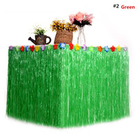natal verde partido vestidos venda por atacado-Luau colorido Grama Hula Mesa De Flor Saia Tableware Halloween Vestido de Mesa Havaí Dança Festa Decoração de Natal de Ano Novo