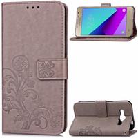 couverture de portefeuille galaxy ace achat en gros de-Pour Galaxy J2 Ace Case Cover avec porte-carte portefeuille perforé concave chanceux quatre feuilles modèle